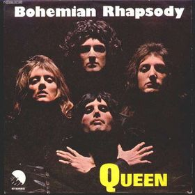 the album cover to Queen's 'Bohemian Rhapsody'