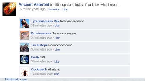 Facebook thread of dinosaurs discussing their imminent extinction via asteroid