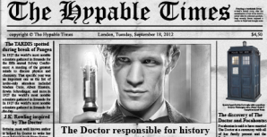 "Newspaper Headline: ""The Doctor responsible for history"""