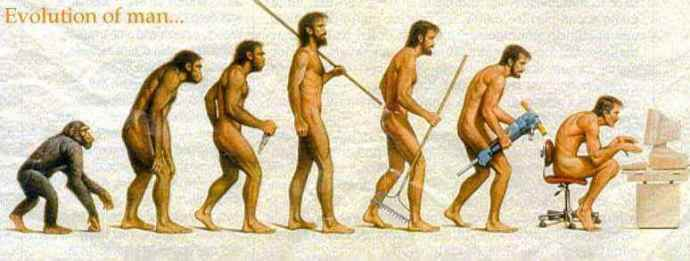 a depiction of evolution from a monkey to a stone age man with a spear to a modern man hunched over a computer screen...