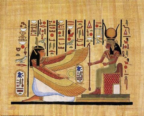 Egyptian Hieroglyphics with two mythological figures facing one another.