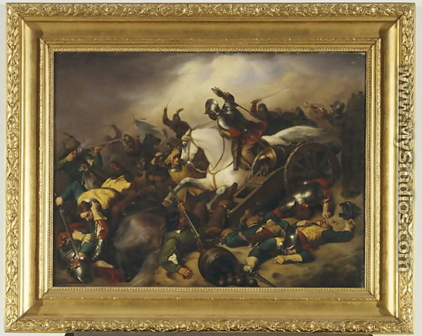 A painted depiction of horseback warfare / stab-fest / total slaughter...