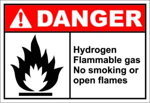 DANGER: Hydrogen Flammable gas No smoking or open flames