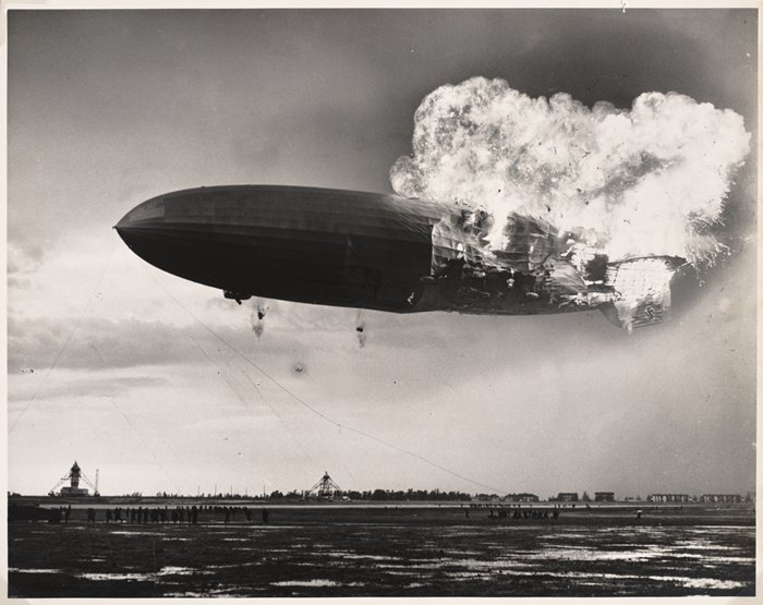 The Hindenburg blowing up
