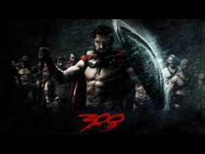 """A poster for the film """"300"""" with Spartans at attention in the rain."""