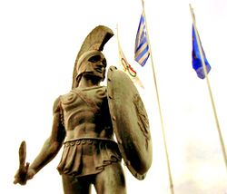 A statue of King Leonidas, the epitome of heroism.
