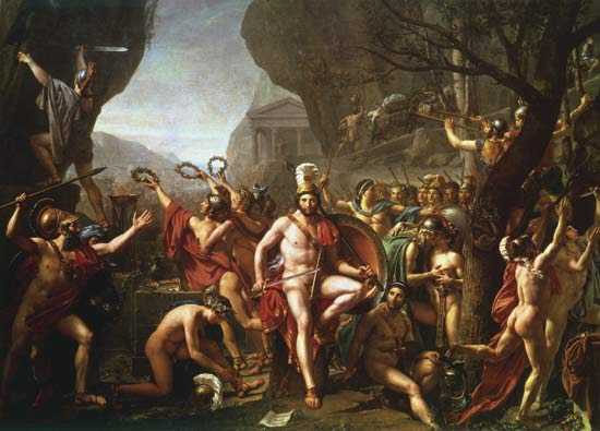 A famous painting of the Battle of Thermopylae