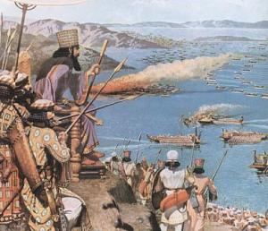 Painting of Xerxes overlooking the Naval conflict at Salamis