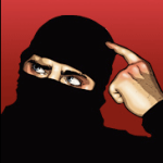 The Ninja from 'Ask a Ninja' with an eyebrow raised and pointing to his head.