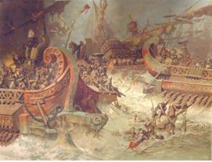 A painting of the chaos at Salamis