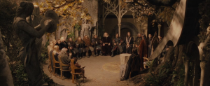 "The Council of Elrond as seen in ""The Lord of the Rings: The Fellowship of the Ring"" directed by Peter Jackson based on the works of Tolkien."