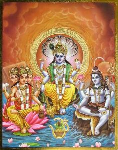 Left to Right: Brahma (Birth), Vishnu (Life), and Shiva (Death)...