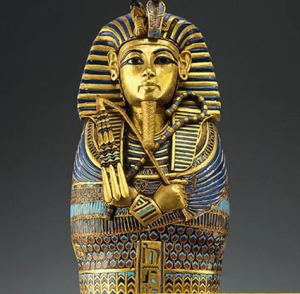 "The sarcophagus of the mummified ""King Tut"""