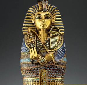 "The sarcophagus of the mummified ""King Tut"""