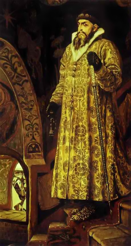 ominous painting of Ivan the Terrible in a fur coat with cane