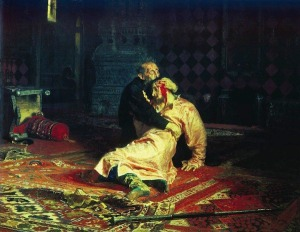 a painting depicting the moments after he killed his son