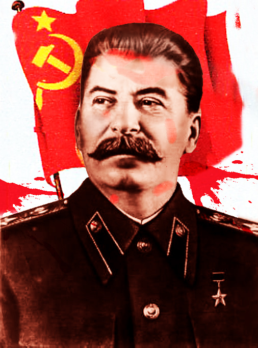 a colored portrait of stalin, with a Soviet flag behind him