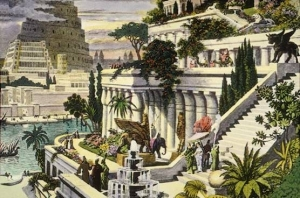 16th Century Painting of the Hanging Gardens of Babylon