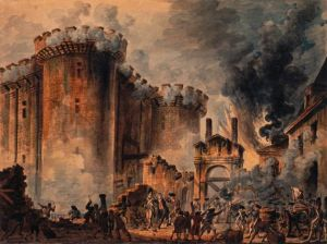 a painting of the French storming the Bastille