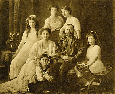 a portrait of the Romanovs, including Czar Nicholas II and Anastasia