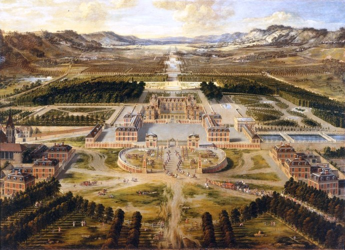 a painting of the palace of Versailles