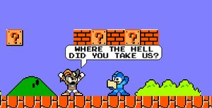 Megaman lost in the Mushroom kingdom, scratching his head, looking at a map, 'where the hell did you take us?'