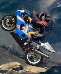 Napoleon astride motorcycle