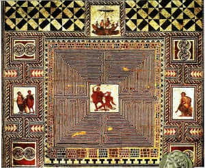 an elaborate tapestry showing Theseus slaying the Minotaur in the Labyrinth