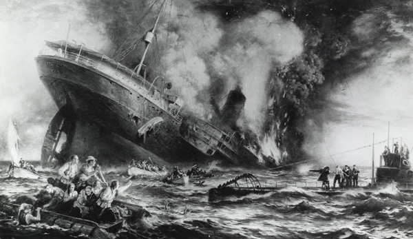 depiction of the Lusitania shipwreck