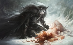 depiction of Hades and Persephone in the snow