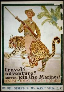 a smiling soldier riding a leopard backwards