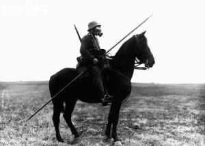 German lancer - WWI (black and white photo)