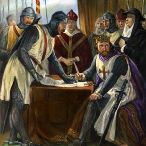King John reluctantly signing the Magna Carta