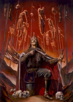 art depicting vlad with sword, surrounded by the forest of impaled