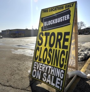 Blockbuster - store closing sign in a vacant parking lot