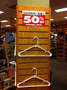 invisibility cloaks 50% off (empty hanger on shelf)