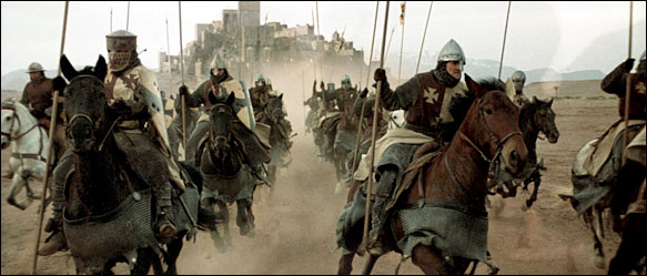 Crusading Knights on horseback charging forward. (scene from 'Kingdom of Heaven')