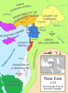 Map of the Crusades region - 1135
