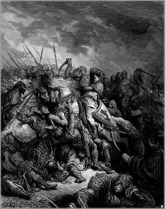stark black and white depiction of 'the battle of arsuf'