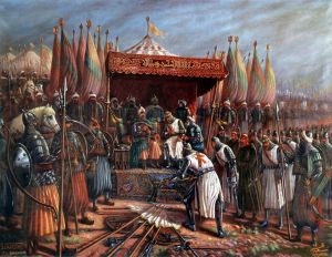 painting depicting the afterma th of Hattin (Sultan Saladin and King Guy)