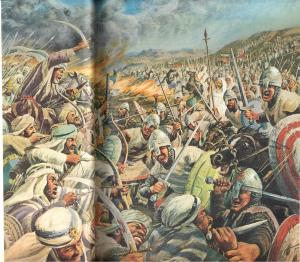 artwork depicting a vicious battle between christian and muslim