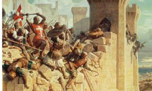 painting of knights fighting within the walls of Jerusalem