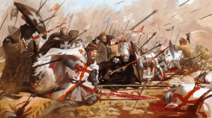 a modern painting of Knights vs Saracens