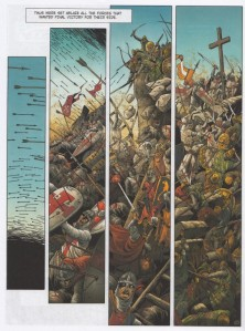 Crusade graphic novel art - arrows, swords, shields, piling bodies with a cross on top.