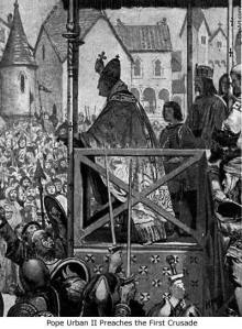 Pope Urban II calling for a Crusade