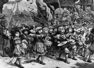 children marching off on crusade
