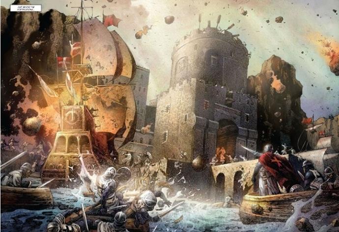 Crusades (comic art: naval siege - knights battling against catapults)