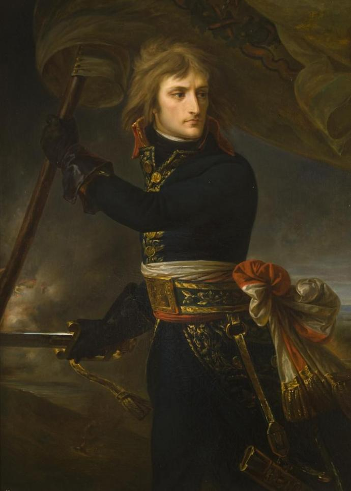 Painting of young Napoleon with flag, and sword.