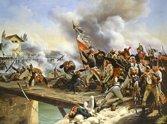 Epic painting of Napoleon leading his men across the Bridge of Arcole
