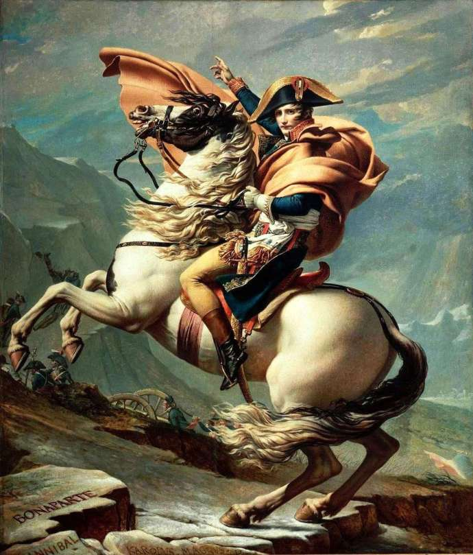 Napoleon crossing the alps on horseback (iconic pose)
